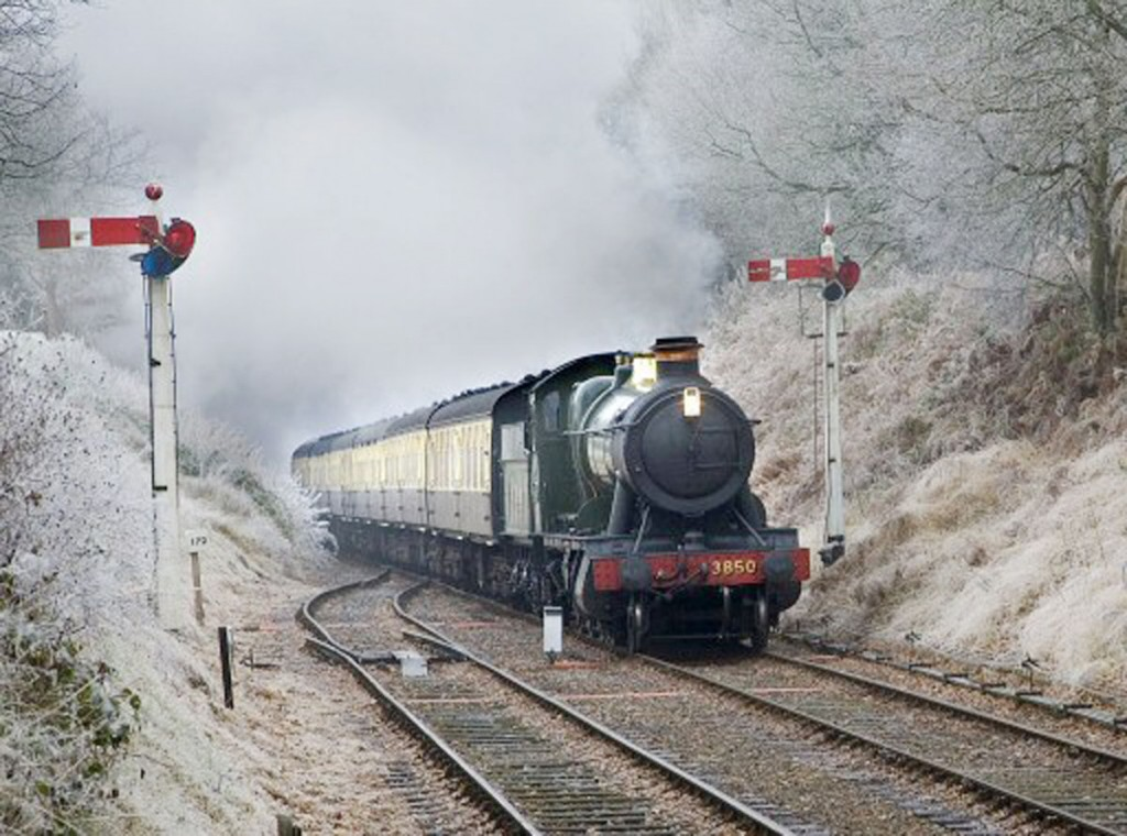 In frost at Crowcombe Heathfield, West Somerset Railway