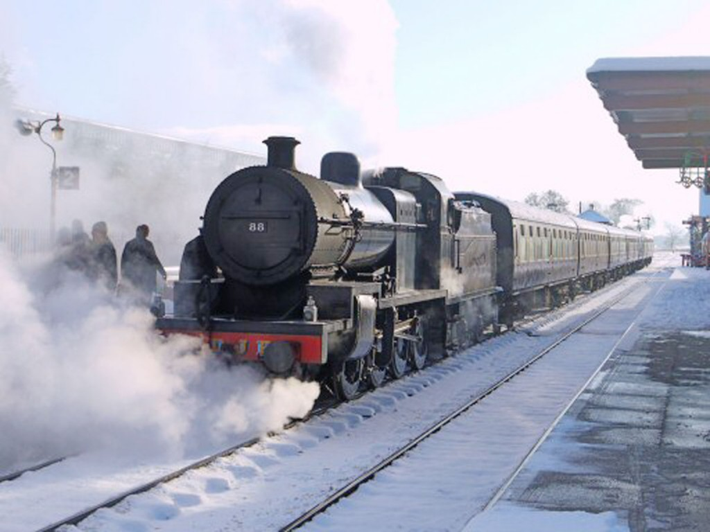 In the snow, West Somerset Railway