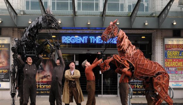 Joey and Topthorn appear at the front of The Regent Theatre to celebrate the arrival of War Horse to Stoke-on-Trent
