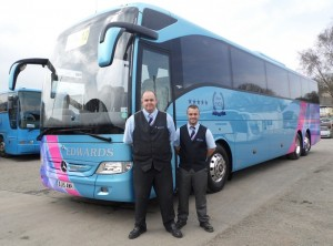 Edwards Coaches Drivers leaving for show