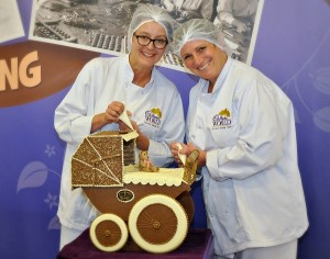 Cadbury World chocolatiers create pram for new princess