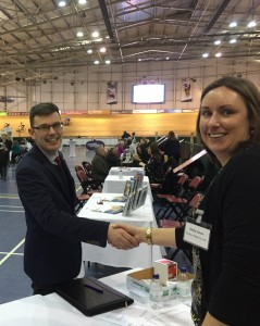 •Vicky Jones of Southern Wales Tourism with Tim Balcombe of Norman Allen Group Travel of Hereford, at the Velodrome Showcase.