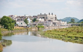 General view of Carmarthen, Carmarthenshire, Wales, taken from Pont Lesneven bridge