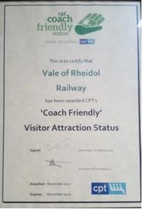 Vale of Rheidol CPT Certificate