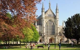 Winchester Cathedral autumn