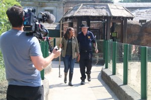 Presenter Jean Johansson with Ian Turner Filming Animal Park