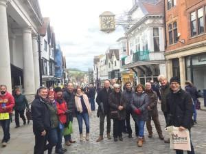 Group Enjoying Guildford High Street