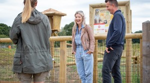 TV star Helen Skelton is enchanted by Yorkshire Wildlife Park's new red pandas as she opens two reserves